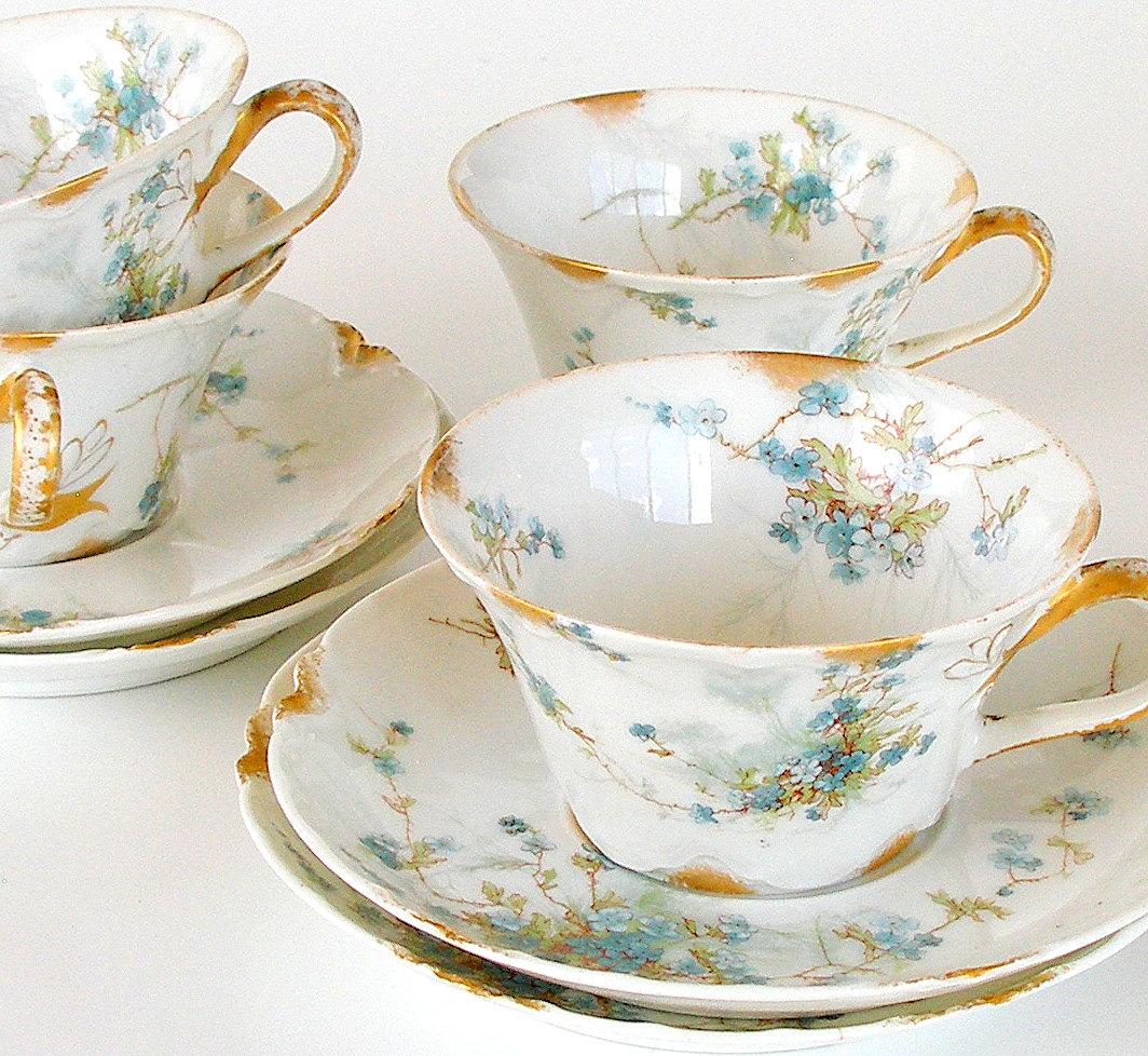 Antique Teacups Haviland Limoges Schleiger 146 1800s Blue