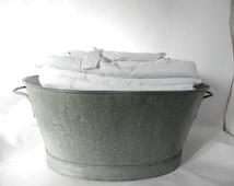 French Vintage Oval Zinc Tub Bassin Xtra Large-FREE SHIPPING