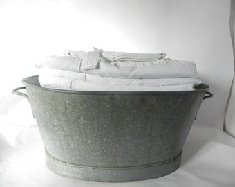 French Vintage Oval Zinc Tub Bassin Xtra Large-