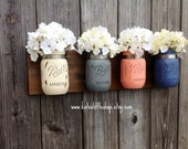 Pint Size Mason Jar Wall Decor. Wall Hanging. Rustic Home Decor. Spring Decor. Farmhouse Decor. Mason Jars. Painted Mason Jars