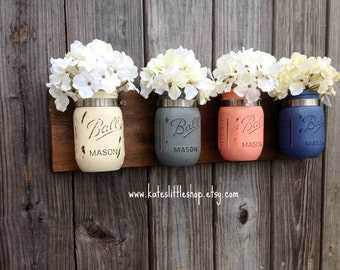 Pint Size Mason Jar Wall Decor. Wall Hanging. Rustic Home Decor. Spring Decor. Farmhouse Decor. Mason Jars. Painted Mason Jars