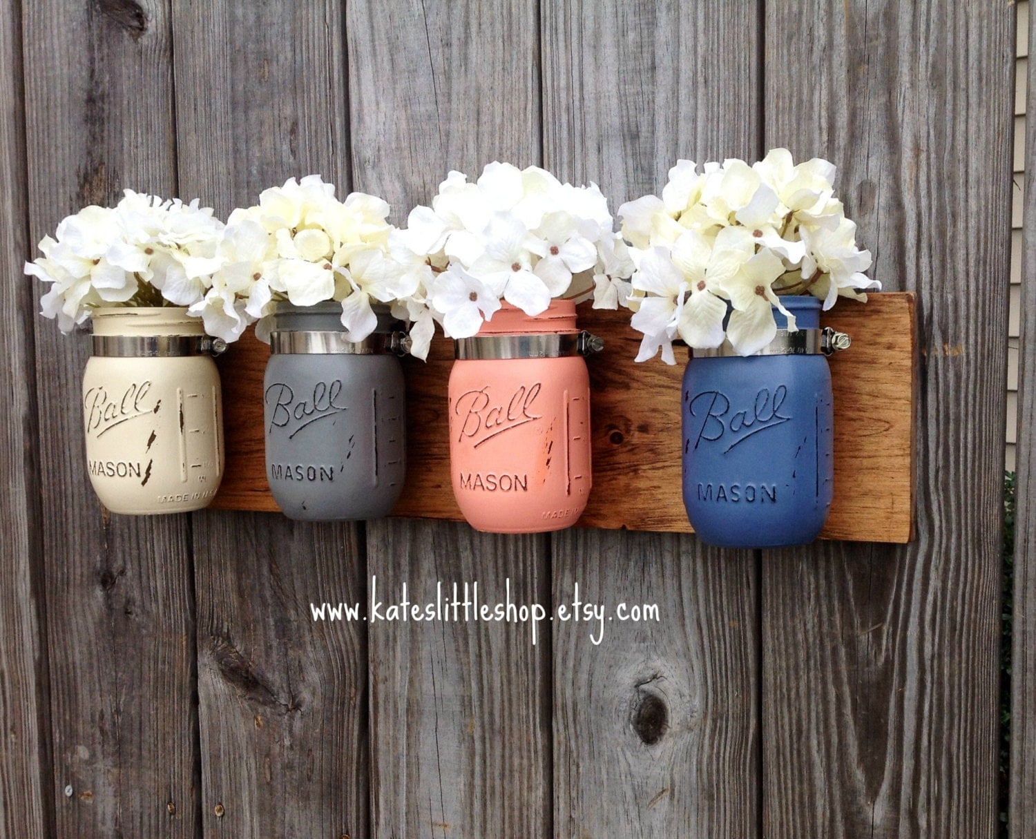 Wall Decor With Mason Jars : Pint size mason jar wall decor hanging rustic home