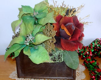 Decorated Wood Box Handcrafted Spectacular Red Rose Green Poinsettias Holiday Table Decor Centerpiece with Wood Medallion Seasonal Gift
