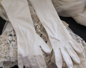 "Beautiful White Ladies Soft Nylon Stretch Gloves 15"" Inch Long"