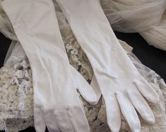 "Gloves Beautiful White Ladies Soft Nylon Stretch Gloves 15"" Inch Long"