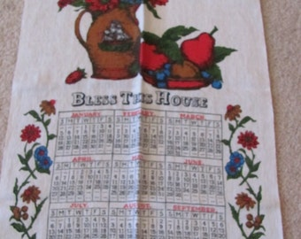Towel - Retro Calendar Irish Linen Kitchen Towel - Year 1975