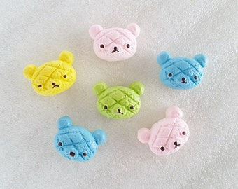 8pcs - Rilakkuma Bread Bun Mix Decoden Cabochon (22x15mm) RK10005