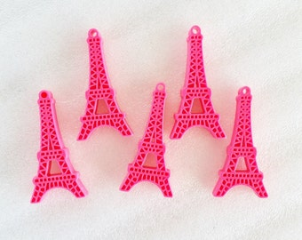 5pcs - Pink Kitschy Eiffel Tower Decoden Cabochon (45mm) MS10004