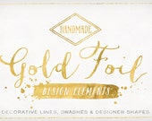 Gold Foil Design Elements - Shapes & Brush Strokes