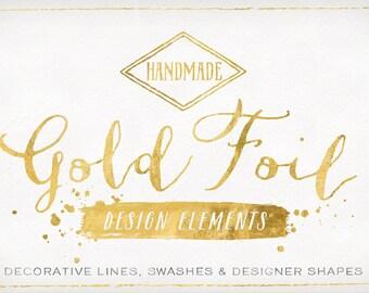 Gold Foil Design Elements - Shapes & Brush Strokes