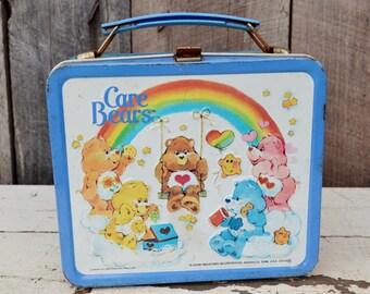 Vintage Care Bear Lunch Box Metal Blue White Rainbow Aladdin American Greetings 1980's