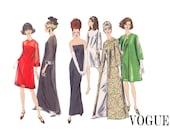 SALE 1960s Vintage Vogue UNCUT Sewing Pattern Strapless Dress Gown over dress & Jacket Size 12 Bust 32 Bride Winter Wedding Vogue Dress 6908