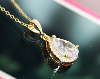 Cubic Zirconia Gold Crystal Drop Wedding Pendant, Gold Rhinestone Bridal Pendant, Wedding Necklace, Bridesmaids Pendant, Bridal Accessories