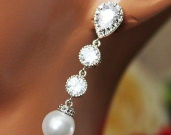 Long Crystal Drop Wedding Earrings, Pearl Drop Bridal Earrings, Rhinestone Bridesmaid Earrings, Mother of the Bride, Bridal Accessories
