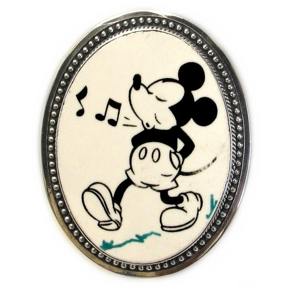 Broken China Jewelry Vintage Whistling Mickey Mouse Large Sterling Pin Brooch