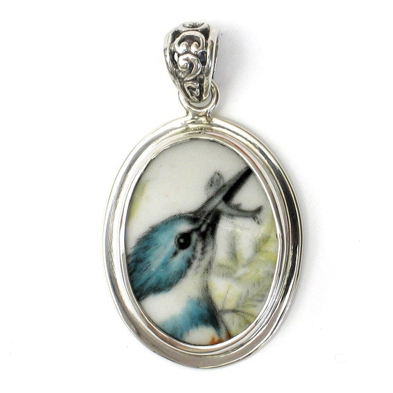 Broken China Jewelry Kingfisher Bird with Fish Sterling Oval Pendant