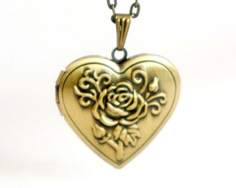 Rose Heart Locket - Vintage Style Antiqued Brass Romantic Heart Shaped Locket Necklace - Ideal Bridesmaids Gift - LN021