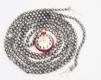 Vintage Christmas Mercury Glass Silver Round Bead Garland 8 Ft plus