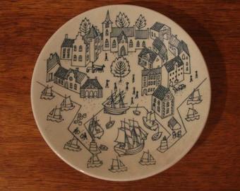 Vintage Danish Modern decorative Nymolle Art Faience Hoyrup plate Mid Century Denmark