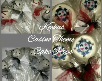 12 Casino theme cake pops Dice poker chips playing cards casino theme party