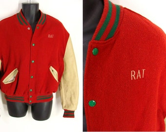 SALE was 300.00. Vintage Collegiate Jacket. 50s Stadium Jacket. ~*RAT*~ 60s Red Wool & Leather Letterman Jacket. 44 L no school affiliation