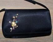 Purse Black Handmade Handbag Flower Brooch Glam Bridal Party Wedding Prom Opera Gift for Her