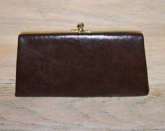 Vintage Clutch Purse Brown Faux Leather Fall Casual Informal Work Career Gift fo Her Christmas Birthday