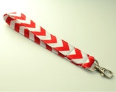 Wristlet Keychain. Red and White Chevron. Ready to Ship.
