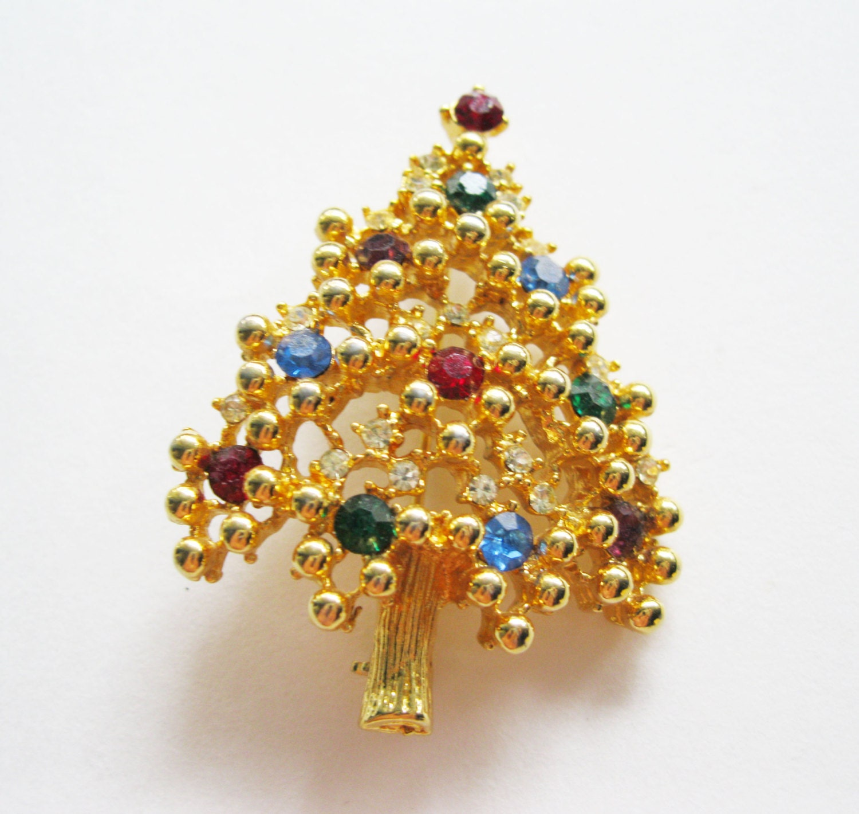 Eisenberg Christmas Tree Brooch Gold Tone Vintage Rhinestone