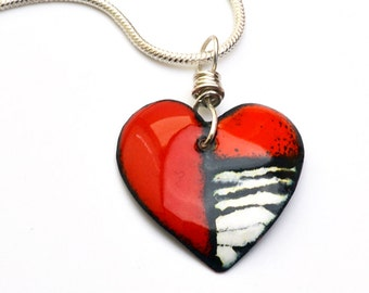 Enameled Heart Pendant Necklace