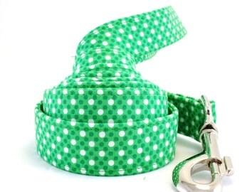 St Patty's Day Dog Leash, St. Patrick's Leash, Green Polka Dot Leash, Green Dog Leash, Polka Dot Dog Leash , Dog Leash, Leash, Pet Leash