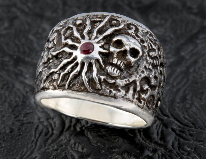 skull ring mens custom made sterling silver sun and skull