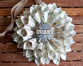 Holiday, Christmas, Noel, paper, vintage ephemera, sheet music, wreath