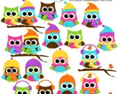 Winter Owls Clipart Set - clip art set of owls, winter, owls with scarfs, hats, snow - personal use, small commercial use, instant download