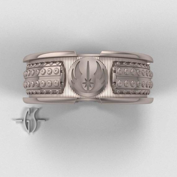 Star Wars Lightsaber Ring - Mens Engagement Ring - 14k Palladium White Gold Wedding Geek Band