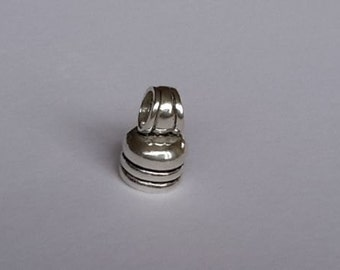 4 Sterling Silver 925 Round leather / chain End Caps beads S,M,L sizes