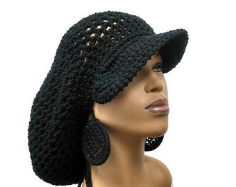 PATTERN ONLY Brimmed crochet Slouch hat Dreadlock hat with drawstring