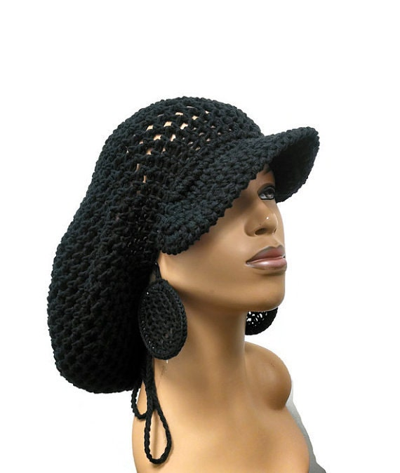 Free Crochet Pattern Slouchy Hat Brim : PATTERN ONLY Brimmed crochet Slouch hat Dreadlock hat with