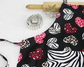 Zebra and Hearts Youth Size Apron with zebra pocket