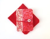 miniature book - red - small gift - decorative book - blank pages - floral cover