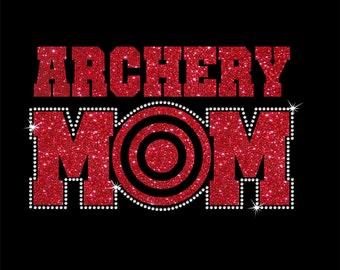 Women's Glitter and Rhinestone Archery Mom Shirt