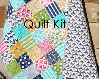 Modern Quilt Kit, Moda Fabrics, Color Theory VandCo, Craft Project, Pink Aqua Grey, Simple Easy Beginner Quick Patchwork DIY Do It Yourself
