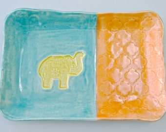 Elephant Plate, small tray, ceramic plate, rectangle dish, turquoise orange, dessert plate, jewelry holder, lucky elephant, decorative plate