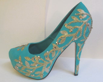 SALE Jeweled Hand Painted Pumps Turquoise Gold