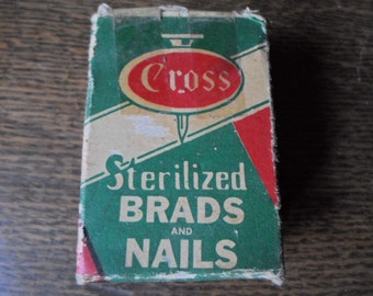 Vintage 1950s to 1960s Cross Brads and Nail Small Cardboard Box Green and Red