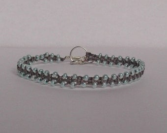 Friendship bracelet.  Micro macrame bracelet in taupe grey and aqua. Macrame jewelry.