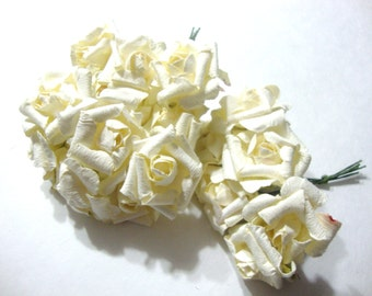 Ivory Mulberry Paper Curled Roses Flowers Large - 3 bunches