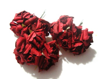 Dark Red Mulberry Paper Curled Roses Flowers Large - 3 bunches