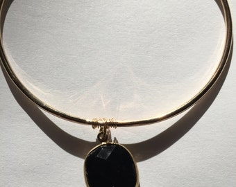 Black spinel, Silverite Gold filled Bangle, Lilyb444, Etsyjewelry, Etsy wedding,
