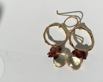 Citirine, Garnet Gold Earrings, Gold Jewelry, Lilyb444, Gifts for her, Gifts Under40, Etsy wedding,